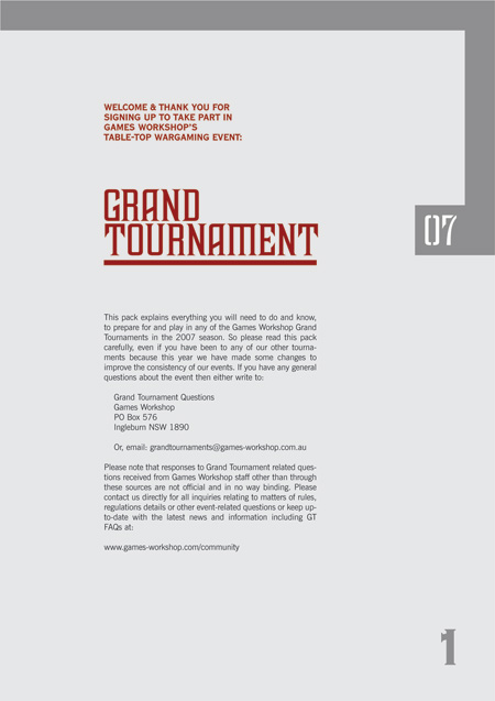 Grand Tournament 2007 Player's Pack Layout